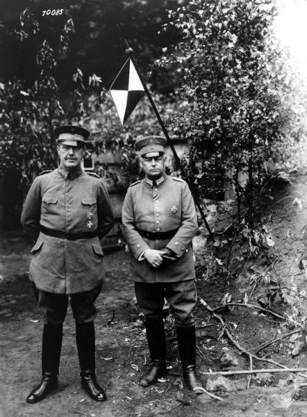 General von Schoeler - German Intendant General (responsible for logistical suppplies). Pictured with Major Morshach. Date: circa 1914