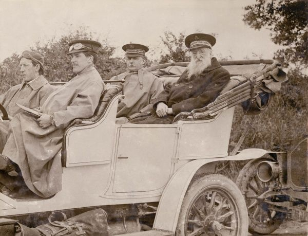 General William Booth, founder of the Salvation Army, seen here in later life riding in an open topped car while on a tour of the provinces