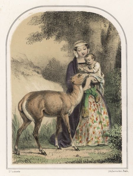 Genevieve de Brabant, heroine of a popular French legend, is saved by a deer when she is abandoned in the forest