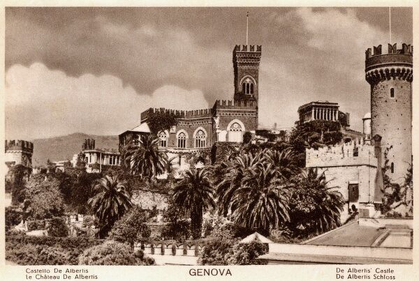 Genoa, Italy - De Albertis Castle. Situated on the hillside. Date: circa 1920s