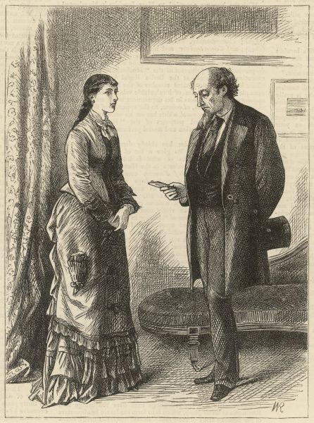 Illustration for 'Black Spirits and White' by Frances Eleanor Trollope, showing Dr. Flagge requesting Nonv's photograph