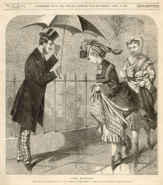 A polite gentleman kindly offers to share his umbrella with some young ladies who are in danger of getting wet