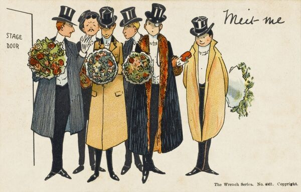 A group of well dressed gentlemen wait for their leading lady at the stage door armed with bouquets of flowers. True Stage Door Johnnies in their silk top hats
