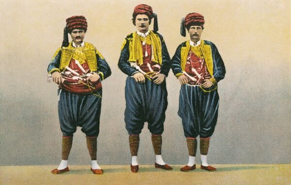 Three gentlemen in traditional Croatian National costume at Dubrovnik (Ragusa), Croatia