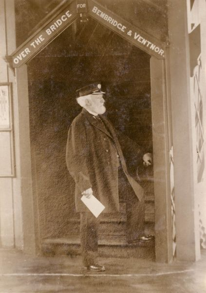 Mr George Corbett, who was employed all his life on the Isle of Wight railway at Brading Station. At the time of this photograph he had the distinction of being the oldest stationmaster in the world