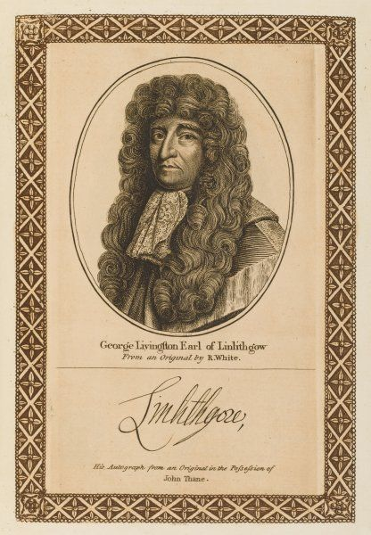 GEORGE LIVINGSTON. earl of LINLITHGOW - Scottish soldier and statesman, suspected of either cowardice or duplicity when opposing Covenanters. with his autograph