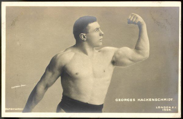 GEORGE HACKENSCHMIDT Estonian wrestler, known as 'the Russian Lion', considered one of the greatest figures in the history of wrestling