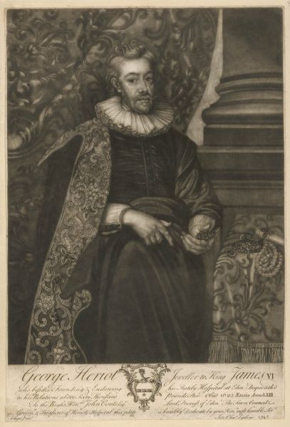 GEORGE HERIOT - Edinburgh jeweler to king James VI/I : he plowed his profits into endowing Heriot's Hospital, besides bequeathing more than 60,000 pounds to his heirs
