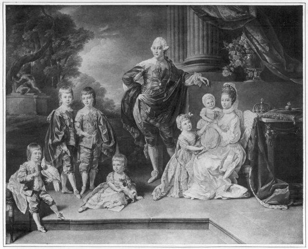 GEORGE III OF ENGLAND with Queen Charlotte and his six eldest children