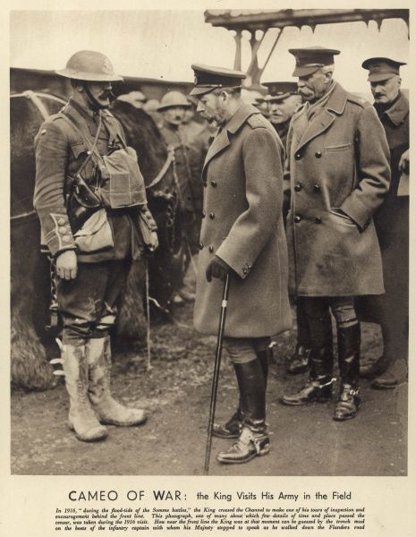 King George V, pictured speaking to an infantry captain during a visit to the British front line during the Somme battles of 1916
