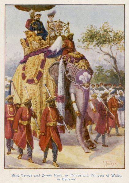 George V and Mary, when Duke and duchess of York, ride an elephant at Benares, in the course of their tour of the Empire, 1901