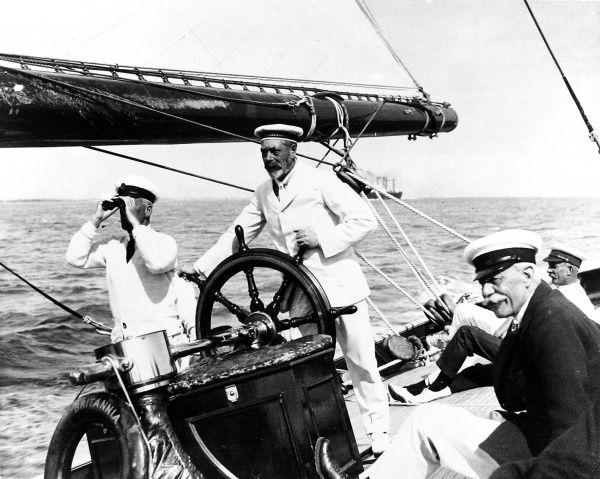 George V at the helm of the Royal yacht, 'Britannia' in 1924