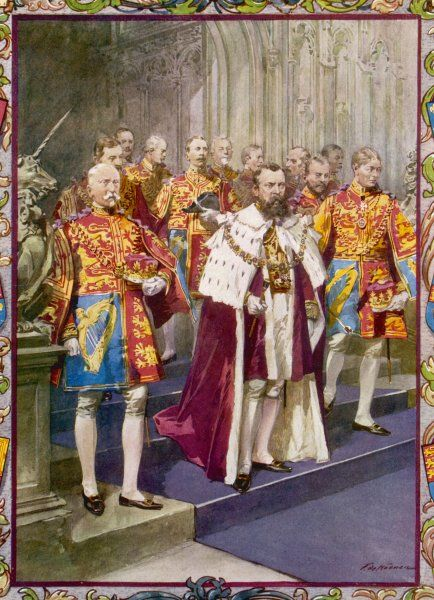 CORONATION OF GEORGE V He stands surrounded by the Officers of Heralds College