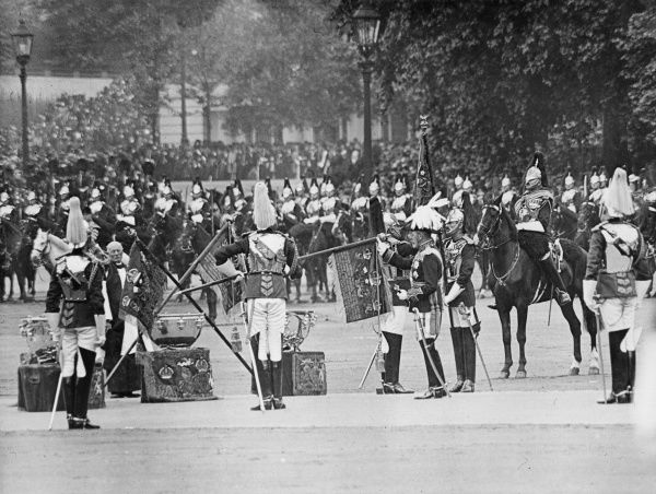 King George V presenting new standards to the Household Cavalry on Horse Guards Parade, Central London