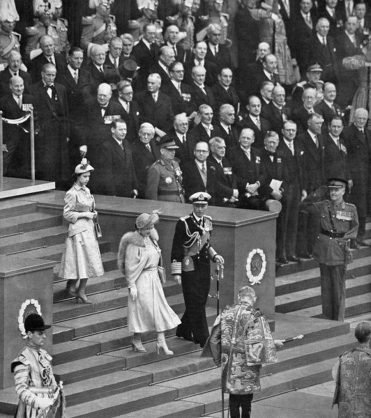 King George VI and Queen Elizabeth, followed by Princess Elizabeth, walking down the steps of St Paul's Cathedral, City of London, shortly after the official opening of the Festival of Britain on Thursday 3 May 1951
