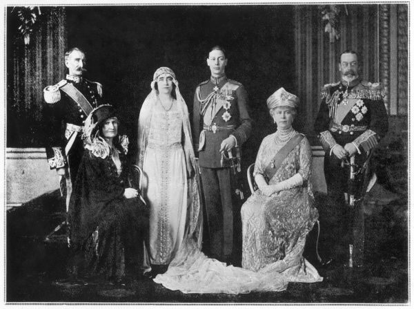 The wedding day of George VI (when Duke of York) and Elizabeth Bowes-Lyon, with the Earl and Countess of Strathmore, and George V and Queen Mary. Date: 26 April 1923