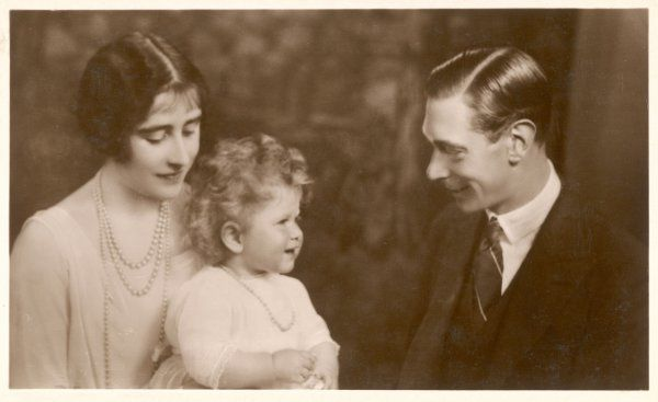 GEORGE VI AND HIS WIFE ELIZABETH BOWES-LYON as Duke and Duchess of York with Princess Elizabeth