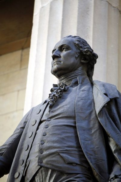 Statue of George Washington on the Federal Hall National Monument, New York, America