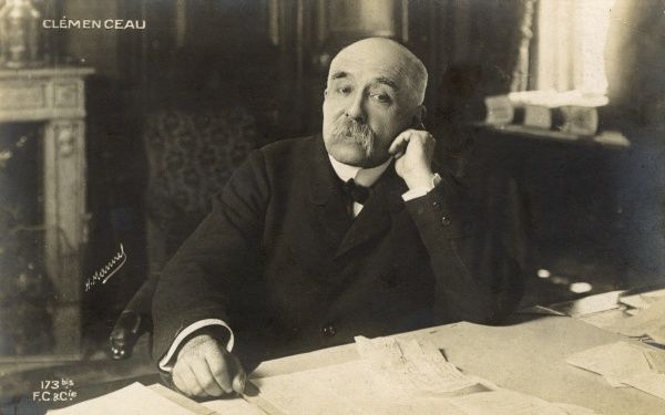 Georges Benjamin Clemenceau (1841-1929) a French statesman, physician and journalist - Prime Minister between 1906-1909 and a leading figure at the end of World War One and during the following Paris Peace Conference which resulted in the Treaty of Versailles