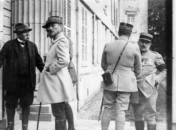 Georges Clemenceau, French Prime Minister, visiting General Mordacq and General Humbert of the French Army towards the end of the First World War. Date: circa 1918