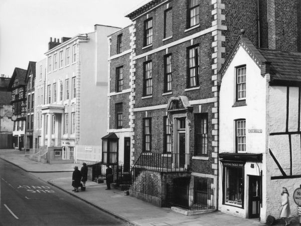 Fine Georgian town houses in Lower Bridge Street, Chester, Cheshire, England. Date: 1960s