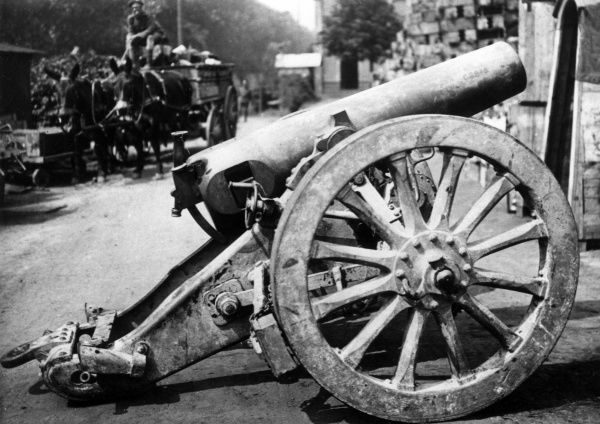 A German 15cm heavy field howitzer gun, in service during the First World War. Date: 1914-1918
