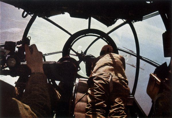 German machine-gunner in the cockpit of a bomber - probably a Heinkel HE-111