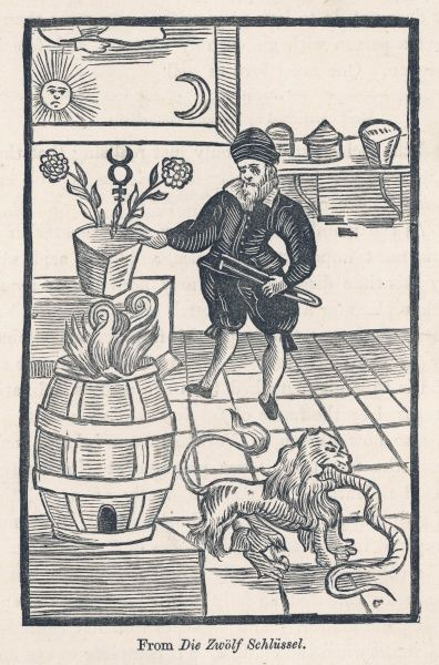 An allegorical portrait of a German alchemist at work, with various symbolic items -- Sun and Moon, Flowers and Furnace, and a lion swallowing a serpent