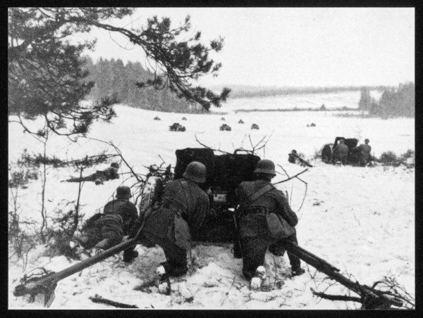 German anti-tank gun in action against the Russians