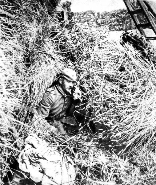 A German artillery observation post in a haystack