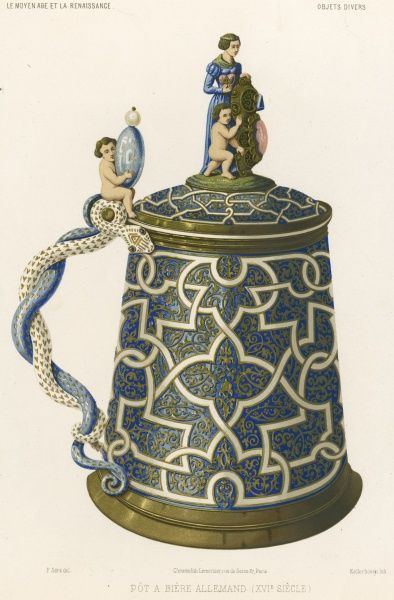 An elaborate German beer pot, or tankard ; the handle is in the form of two intertwined snakes