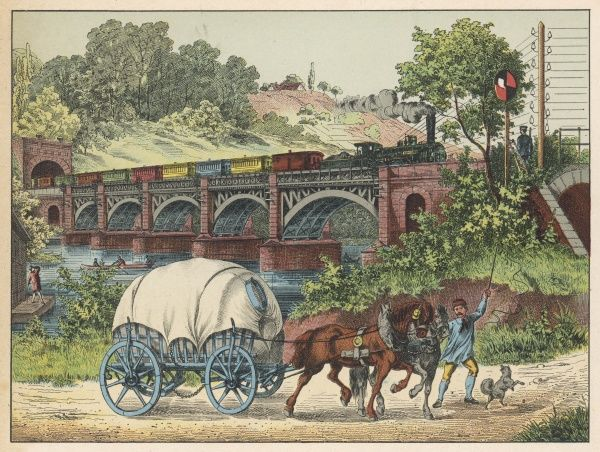 A carrier encourages his horses with a stick, while behind him a train crosses a viaduct watched by a signalman. The little dog laughs such sport to see