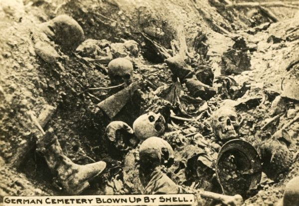 A German cemetery blown up by an American shell on the western front during the First World War. Date: 1918