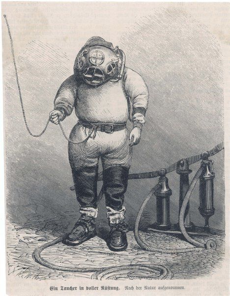 German diver with breathing apparatus and line