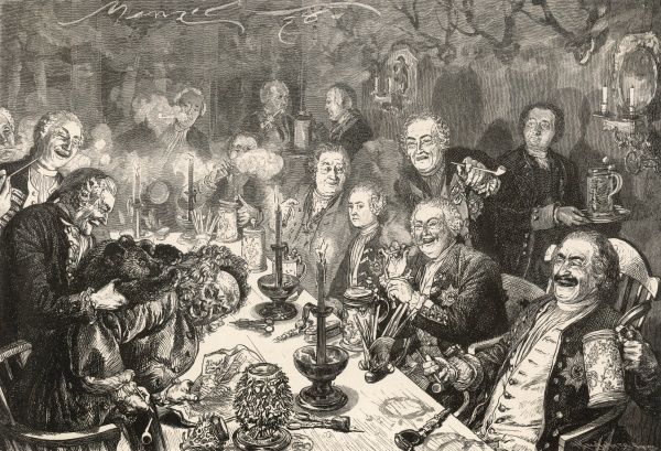 A rather dissipated group of gentlemen drinking beer from tankards and smoking pipes at German court. A practical joker sets a bear cub onto a reveller, whose wig comes off!