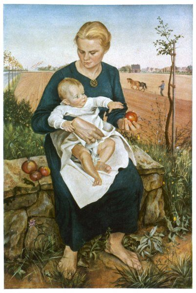 Mother and Child German farmer's wife enjoys time with her baby while her husband ploughs the fields in the background