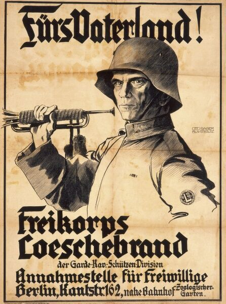 German First World War poster -- For the Fatherland -- depicting a Freikorps soldier holding a bugle in his right hand