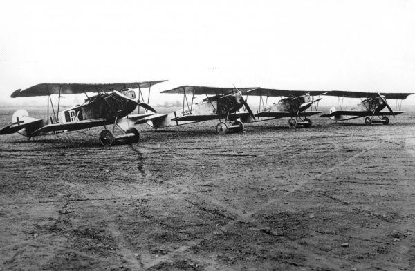 Four German Fokker D VII fighter planes on an airfield towards the end of the First World War. It had a 180 hp Mercedes engine, and was a single-seat fighter plane. Date: circa 1918