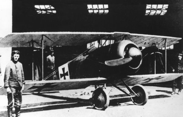 A German Fokker D.V single-seater fighter biplane with a 100 hp Oberursel engine, in service towards the end of the First World War. Date: 1916-1918