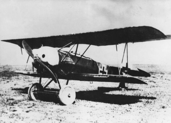 A German Fokker D.VI single-seater fighter plane with an Oberursel engine, in service towards the end of the First World War. Date: 1917-1918