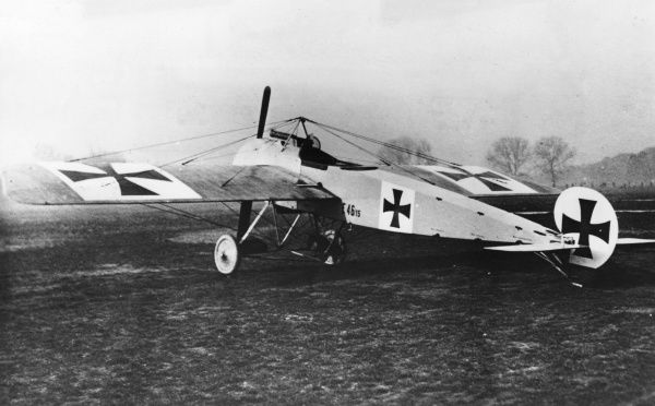 A German Fokker E I fighter plane with an 80 hp Oberursel engine, used during the First World War from 1915 onwards. Date: 1915