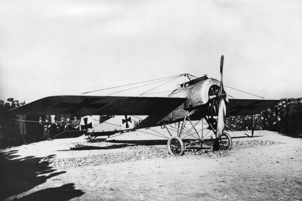 A German Fokker E III fighter plane with a 100 hp Oberursel engine, used during the First World War from 1915 onwards. Photograph taken by a member of No.11 Wing, RFC. Date: 1915-1918