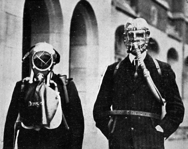 A British impression of the type of respiratory equipment used by German soldiers during gas attacks upon Allied troops