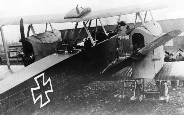 A German Gotha G III heavy bomber plane with a Mercedes engine, used during the latter half of the First World War. Date: 1916-1918