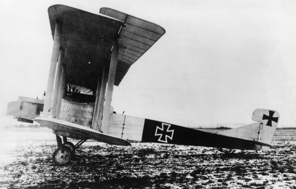 A German Gotha G III heavy bomber plane with a Mercedes engine, used during the latter half of the First World War