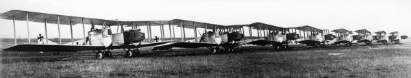 German Gotha G.II heavy bomber biplanes lined up in a field during the First World War. Date: 1916-1918