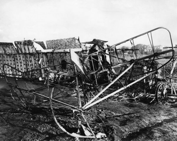 A German Gotha G.IV heavy bomber, set on fire by the pilot after a forced landing at Margate, Kent, on 22 December 1917. The crew surrendered. The G.IV model was introduced in 1917 and used during the latter part of the First World War. Date