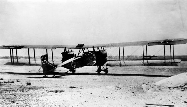 A German Gotha G.IV heavy bomber, introduced in 1917 and used during the latter part of the First World War, mostly for night bombing. Seen here on an airfield. Date: 1917-1918