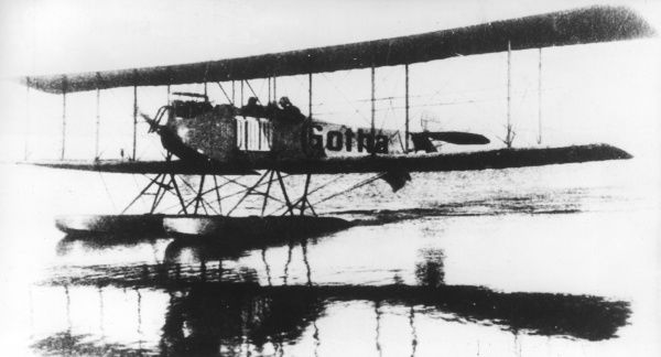 A German Gotha WD1 seaplane, used for coastal patrol work in the early part of the First World War. It was a two-seater, with a 100 horsepower Daimler engine and two floats. Date: circa 1914-1915