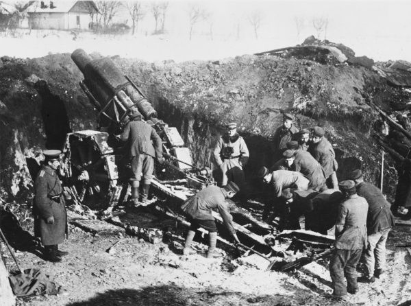 A German 21cm Howitzer in action on the Romanian Front, as Central Power forces advance towards the Sereth (Siret) River